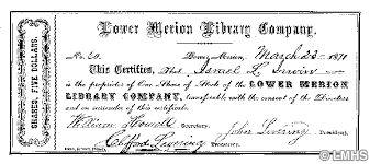 Selling A Share Certificate Lower Merion Library Company Share Certificate Photograph