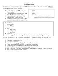 Career Paper Outline For This Project You Are Required To