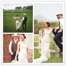 Dropshipping Empire Line Beach Wedding Dress Sleeves UK  Free UK Vintage Country Style Wedding Dresses