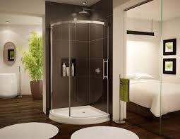 round acrylic arc base with sliding glass doors