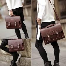 details about retro leather briefcase 13 13 3 laptop shoulder messenger bag for men women