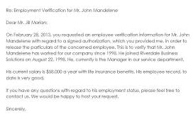 Letter Employment Verification Employment Verification Letter And Salary Former Employee