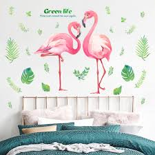 pink romantic flamingo wall stickers home decor living room green life wall art diy modern wall