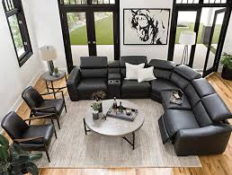 modern living room with kristen slate grey 6 piece power reclining sectional