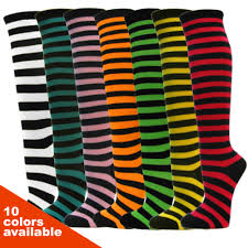 black bright color striped non athletic knee socks 6pairs pack