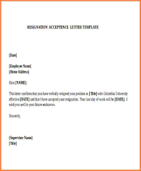 acceptance of resignation letter resignation acceptance letter format employee