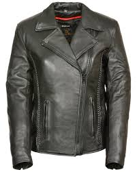 milwaukee leather women s braid stud leather jacket black