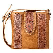 montana west women s trinity ranch tooled leather collection cross purse purses wallets accessories apparel