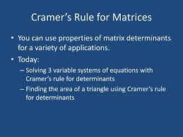 cramer s rule for matrices n