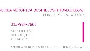 1437276599 NPI Number | ANDREA VERONICA DESHIELDS-THOMAS LBSW ...