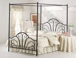 Silvia Modern Classic Antique Iron Grey Linen Upholstered Canopy Canopy Iron Bed