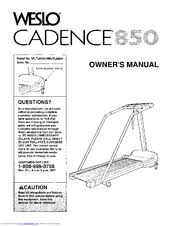 weslo cadence 850 owner s manual pdf