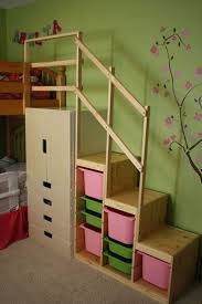 Easy Full Height DIY Bunk Bed Stairs with toy storage for kids bedroom