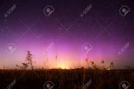 Purple Pink Northern Lights Night Landscape With Northern Lights Aurora Borealis