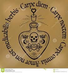вдохновляющее Diem Carpe цитаты татуировка плана вектор бутылки