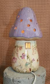 dewdrop fairy toadstool lamp lilac