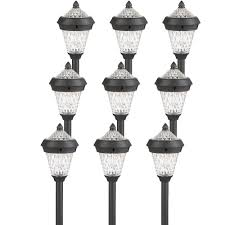 9 pack westinghouse atlanta black solar outdoor garden stake pathway led light com