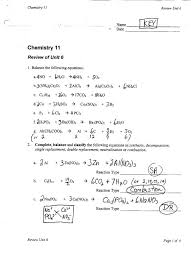 six types of chemical reaction worksheet reactions word equation chemistry equations answer key