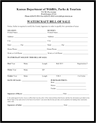 Free Kansas Watercraft Or Boat Bill Of Sale Form Download Pdf Word ...