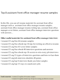 top 8 assistant front office manager resume samples 1 638jpgcb1428676863 resume samples office manager