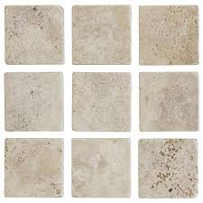 4 in x 4 in light travertine tumbled wall tile 9 pack