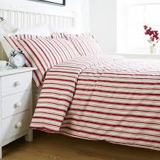 the pure linen company red single stripe duvet cover set