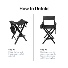 flexzion makeup chair artist directors actor wood stool professional light weight bar height seat foldable with storage side bags and food rest home