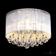 soft sheer drum shade 4 light elegant flush mount hanging clear crystal teardrops beautifulhalo com