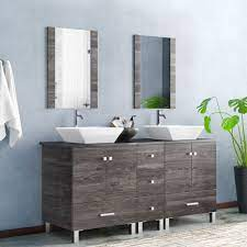 Orren Ellis Barbonne 60 Double Bathroom Vanity With Mirror Reviews Wayfair