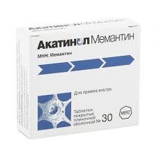 Акатинол <b>Мемантин</b> таб.п/о <b>10мг</b> №<b>30</b> по доступной цене в ...