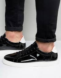 black leather sneakers selected homme david patent leather sneakers