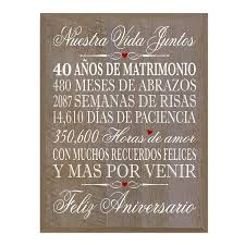 amazon lifesong milestones spanish 40th wedding anniversary wall plaque gift for her him husband wife couples 12 x 15 walnut