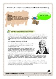 Worksheet Lamarck Versus Darwins Evolutionary Theory