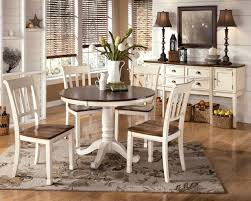 Cottage Style Kitchen Table 48inch Round Off White Brown Cherry Dining Table Set Cottage