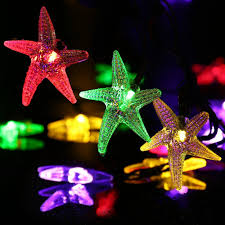 decorative string lighting. LUCKLED Starfish Solar String Lights, 20ft 30 LED Fairy Decorative Christmas Lighting For Indoor And Outdoor, Home, Lawn, Garden, Wedding, Patio, Party, T