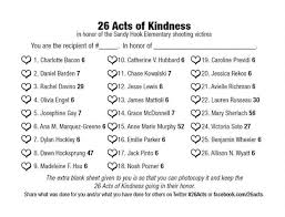 random acts of kindness for sandyhook org for those interested here s a check sheet you can use
