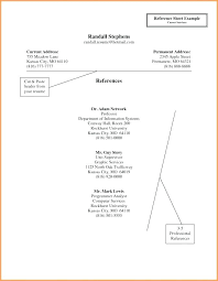 Professional References Format Personal Reference List