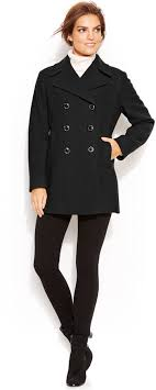 kenneth cole reaction double ted wool blend pea coat