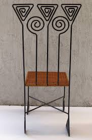 woven metal furniture. Modern Sculptural Pair Of High Back Wrought Iron Chairs With Woven Seats For Sale Metal Furniture E