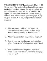 frankenstein by mary shelley ultra condensed by faron p cedotal paragraph ldquoquizrdquo frankenstein