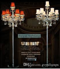 2019 7 arm large wedding led floor lamps tall led candelabra modern party glass candle holders living room crystal floor light with lamp shade from