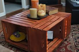 ... Coffee Table, Breathtaking Brown Square Rustic Wooden Crate Coffee Table  With Storage Design Which You ...