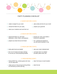 free printable party planning checklist front page