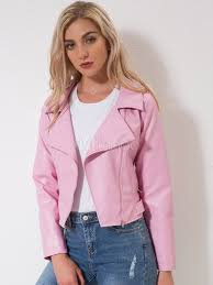 pink moto jacket women full zip pu leather biker jacket no 1