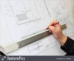Designer Draftsman People At Work Drawing Board Hand Of The Draftsman Stock