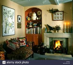 Living Room Alcove Alcove Shelving Beside The Fireplace In Grey Country Drawing Room