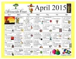 April 2015 Calendar Of Arbourside Court Senior's Activities ...