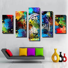 5 pieces animal spray painting on canvas home decor wall art colorful tiger picture for bedroom printed poster