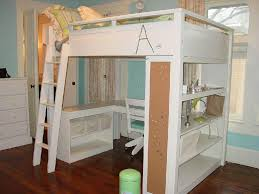 bedroom white lacquer wooden loft bed with bookcase and l shaped desk plus ladder placed on dark brown teak wood floor as well as sleigh beds queen size