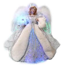 led angel silver tree topper
